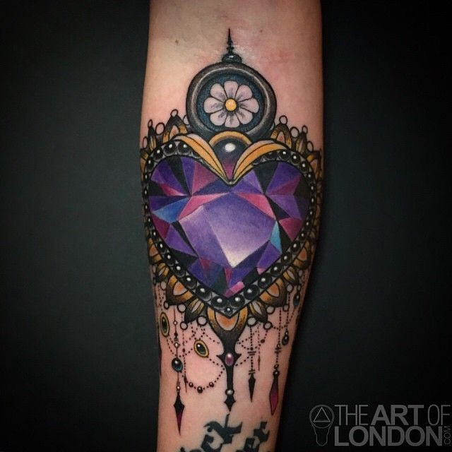 new school style colored heart shaped diamond tattoo on