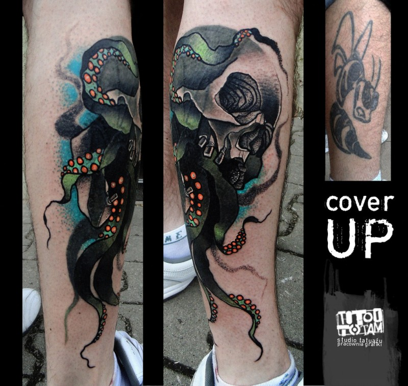 New school style colored human skull with octopus legs tattoo