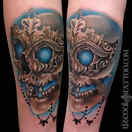 New school style colored human skull with mask