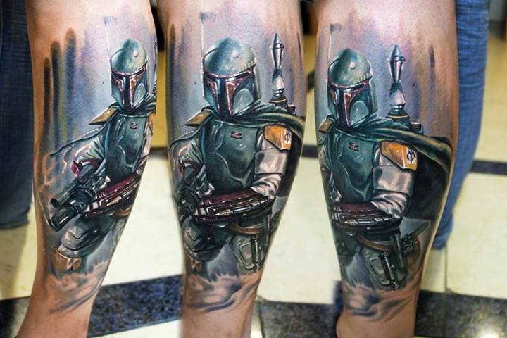 New school style colored leg tattoo of Star Wars soldier