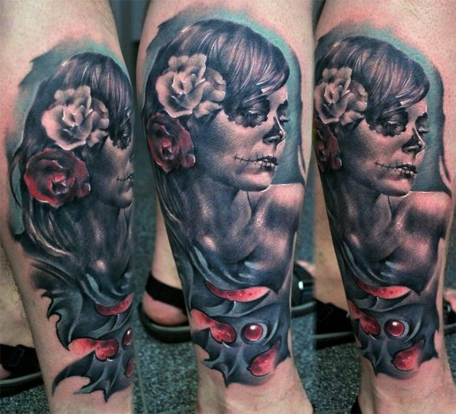 New school style colored leg tattoo of woman with flowers in hair