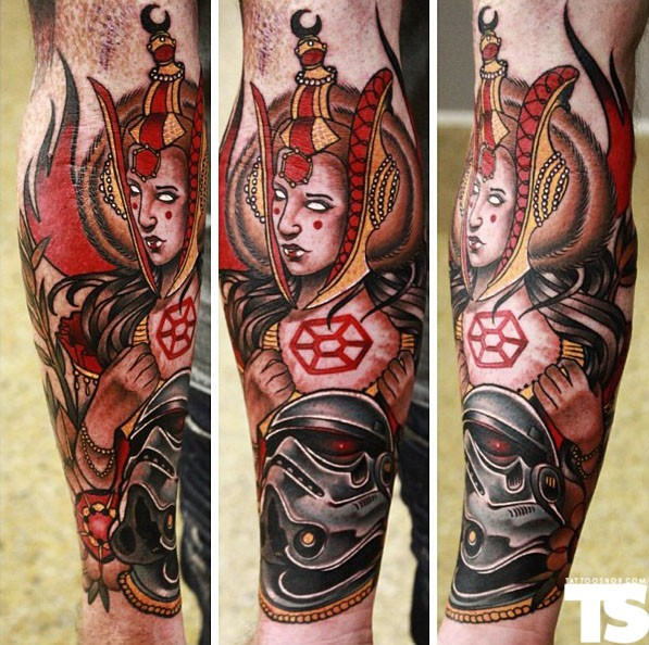 New school style colored leg tattoo of mystic woman and demonic Storm Trooper