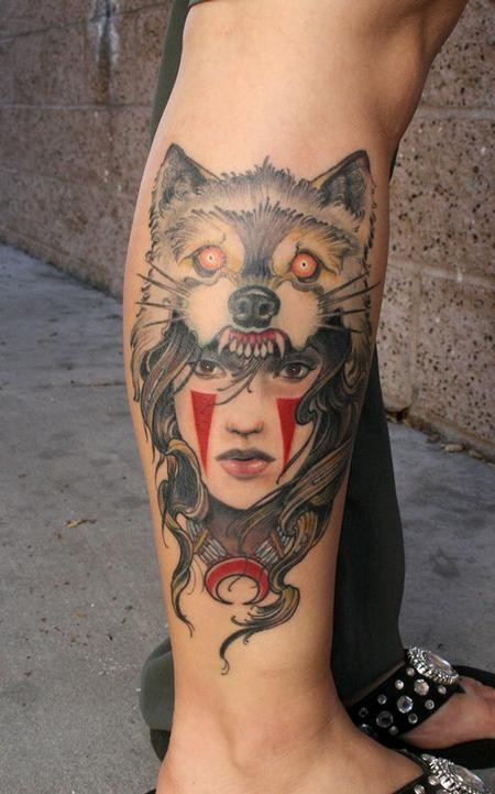 New school style colored leg tattoo of ancient woman with wolf helmet