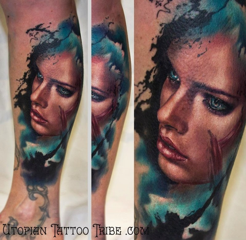 New school style colored leg tattoo of woman portrait