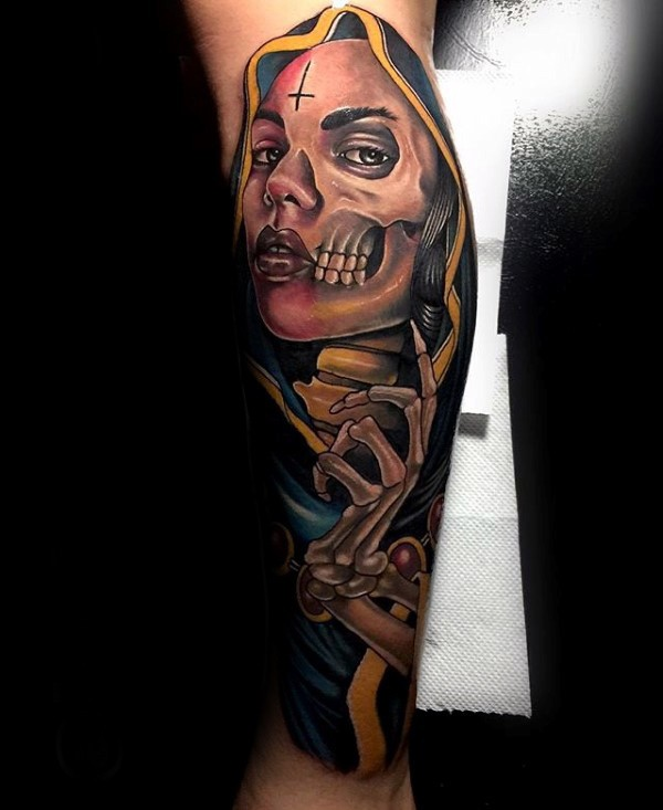New school style colored leg tattoo of woman with skeleton