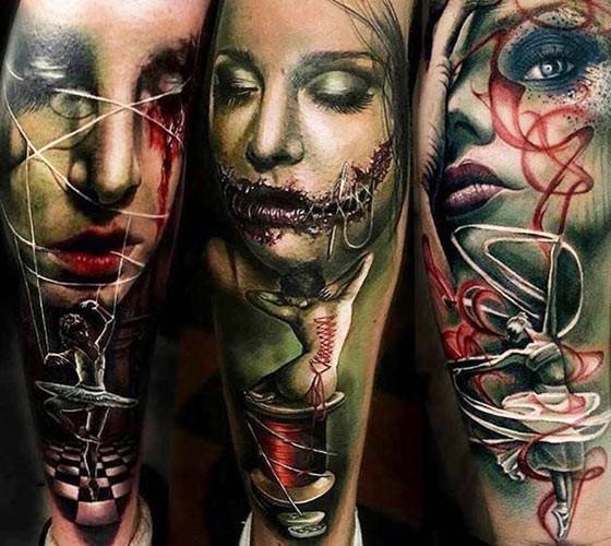 New school style colored leg tattoo of creepy demonic woman