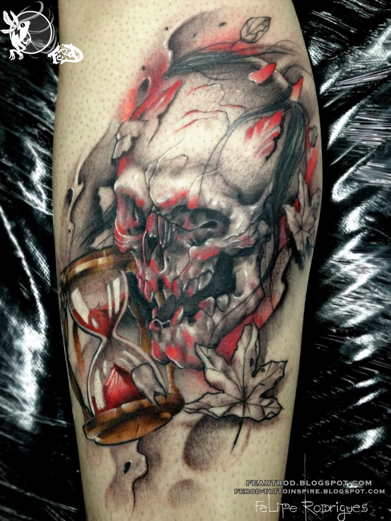 New school style colored leg tattoo of bloody demonic skull with sand clock