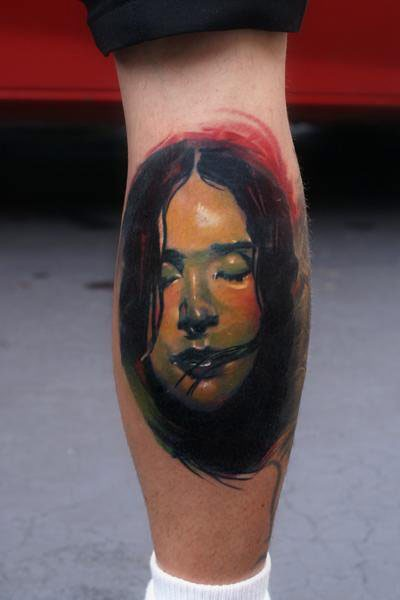 New school style colored leg tattoo of drowned woman