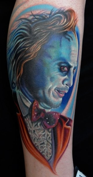 New school style colored leg tattoo of monster face