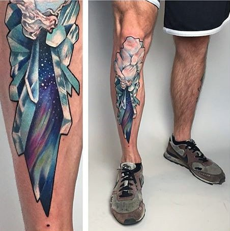 New school style colored leg tattoo of flowers and leg