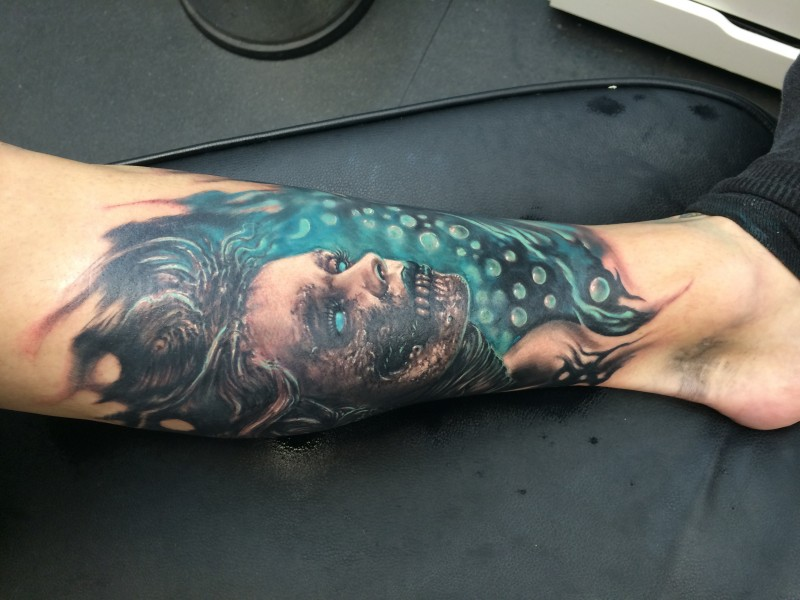 New school style colored leg tattoo of mystical woman face
