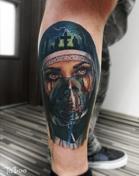 New school style colored leg tattoo of bloody Mother with mask