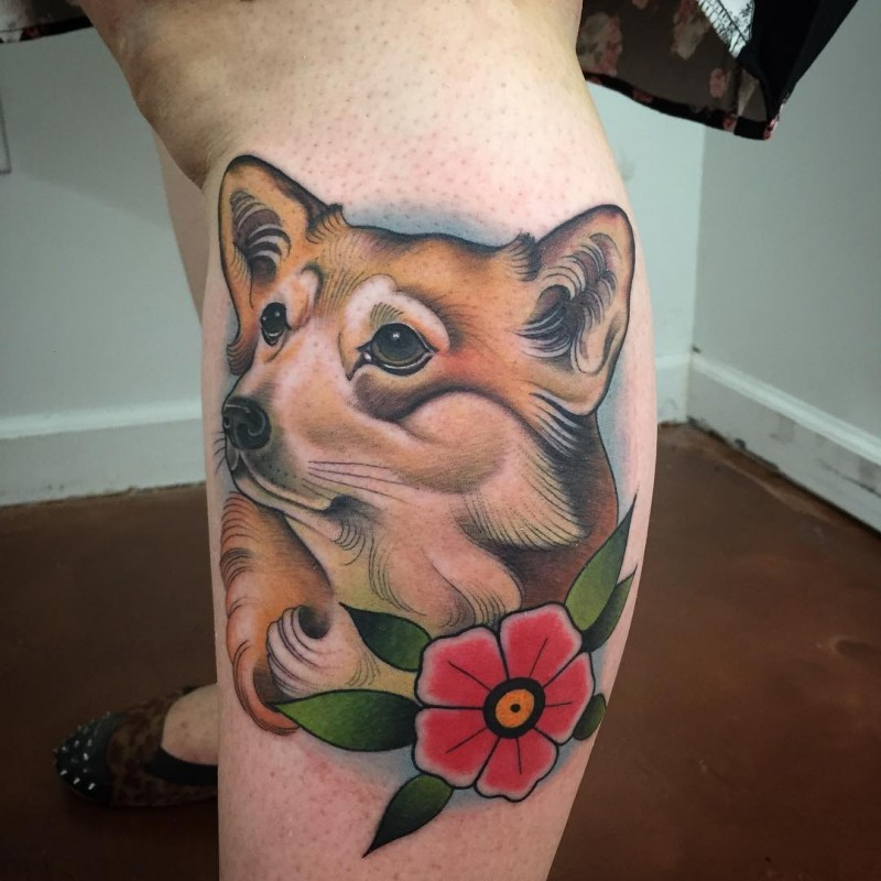 New school style colored leg tattoo of sweet dog with flower