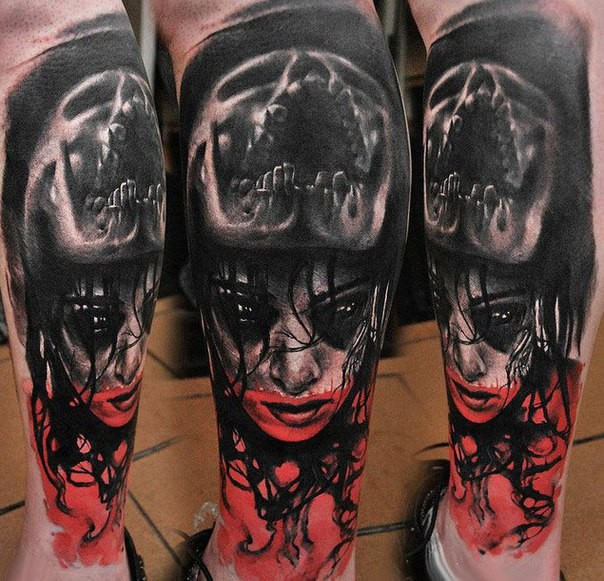 New school style colored leg tattoo of woman face with skull