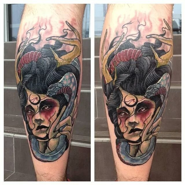 New school style colored leg tattoo of evil witch with snake and horns