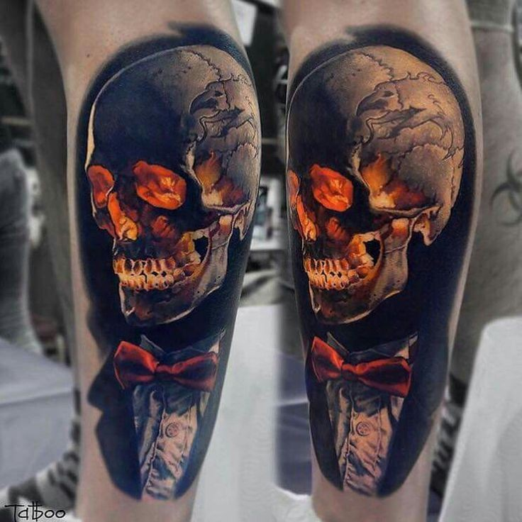 New school style colored leg tattoo of human skull with tox