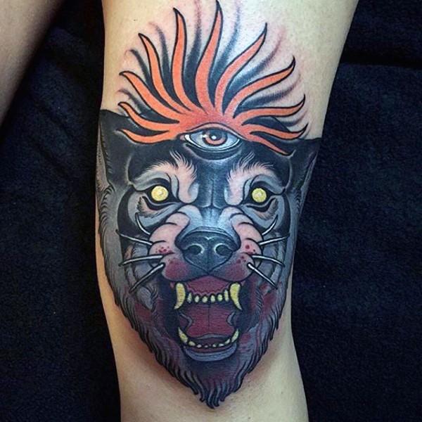 New school style colored leg tattoo of demonic bloody wolf head