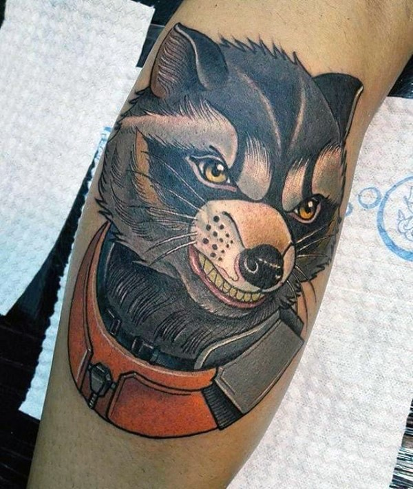 New school style colored leg tattoo of fantasy space raccoon