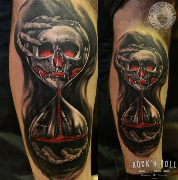 New school style colored leg tattoo of creepy clock with bloody skull