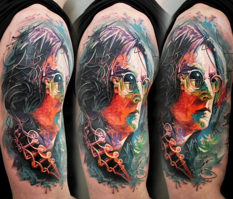 New school style colored Lennon portrait tattoo on shoulder