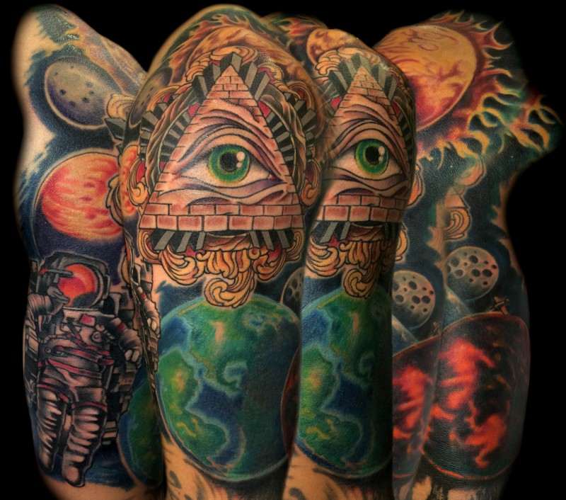 New school style colored mystical pyramid tattoo on sleeve combined with space and astronaut