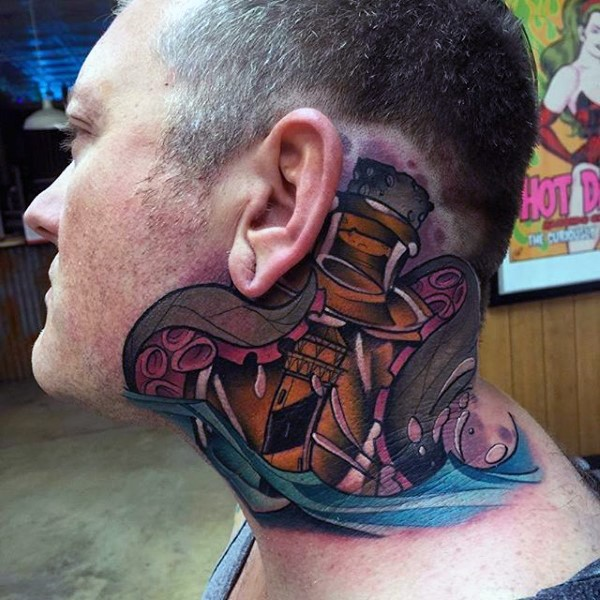 New school style colored neck tattoo of lighthouse with octopus