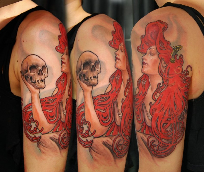 New school style colored red head woman with skull tattoo on shoulder