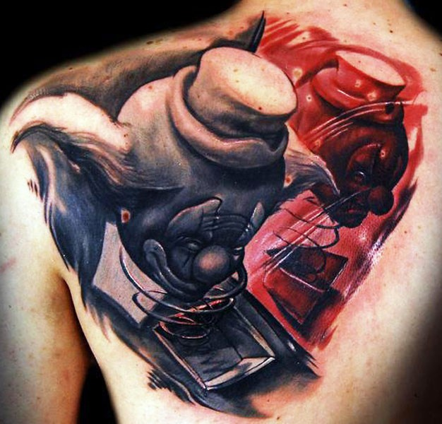 New school style colored scapular tattoo of clown head