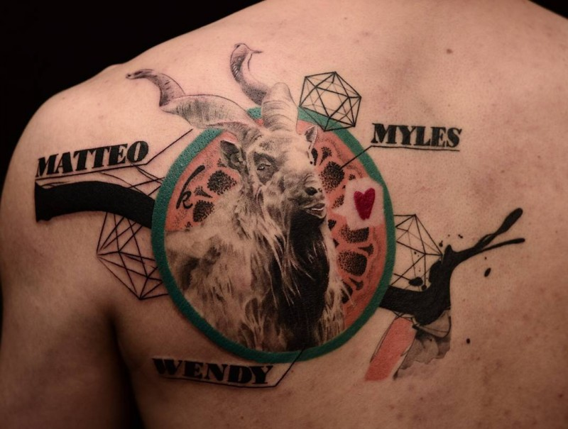 New school style colored scapular tattoo of big goat with lettering