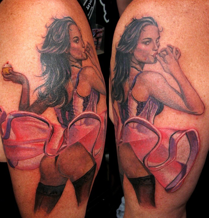 New school style colored sexy woman with cool dress tattoo on shoulder