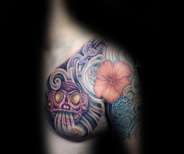 New school style colored shoulder and chest tattoo of ancient statues and flower