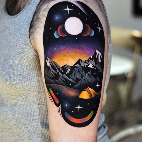 New school style colored shoulder tattoo of night mountains with sky