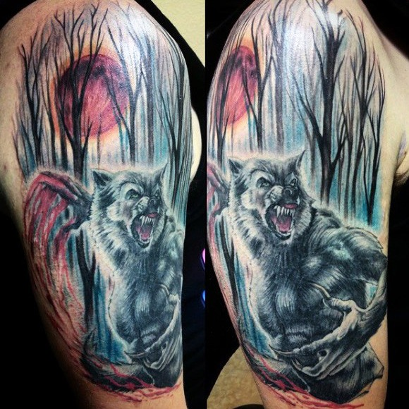 New school style colored shoulder tattoo of blood werewolf and dark forest
