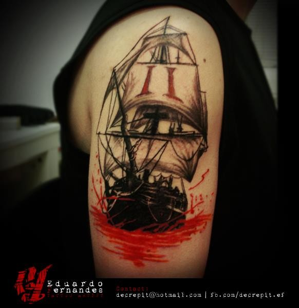 New school style colored shoulder tattoo of sailing ship