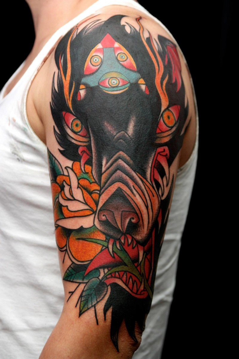 new school style colored shoulder tattoo of demonic wolf with flowers