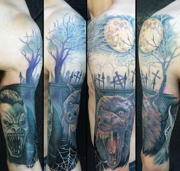 New school style colored shoulder tattoo of dark cemetery with werewolf and vampire