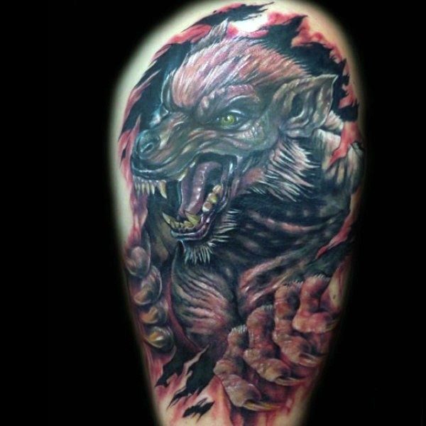 New school style colored shoulder tattoo of colorful werewolf with ripped skin
