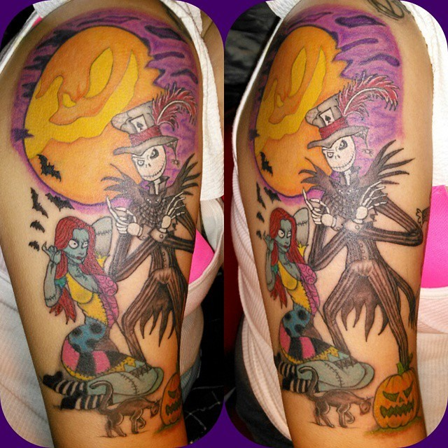New school style colored shoulder tattoo of Nightmare before Christmas cartoon with bats