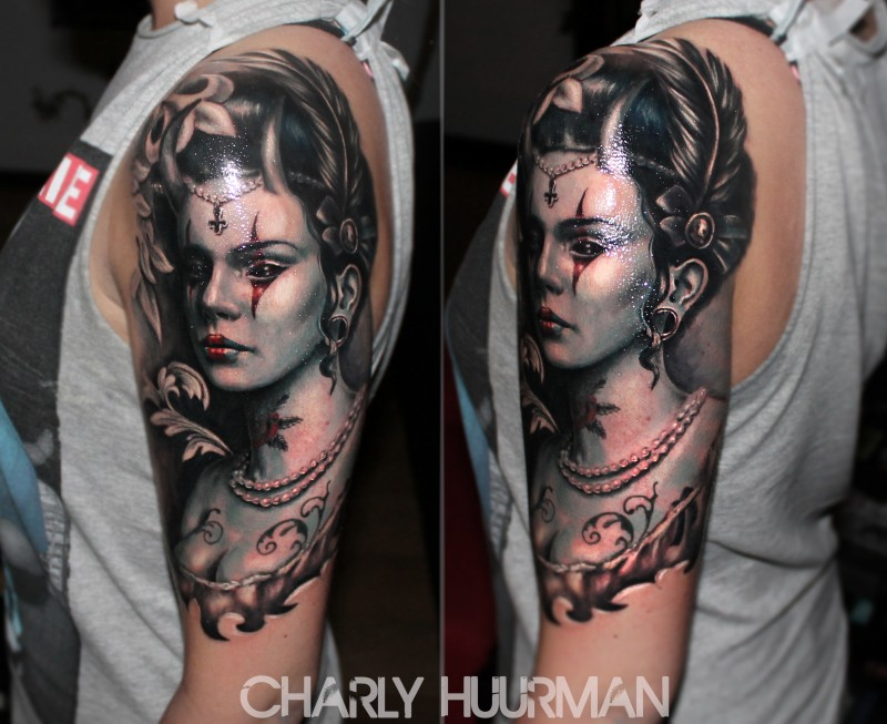 New school style colored shoulder tattoo of mystic woman