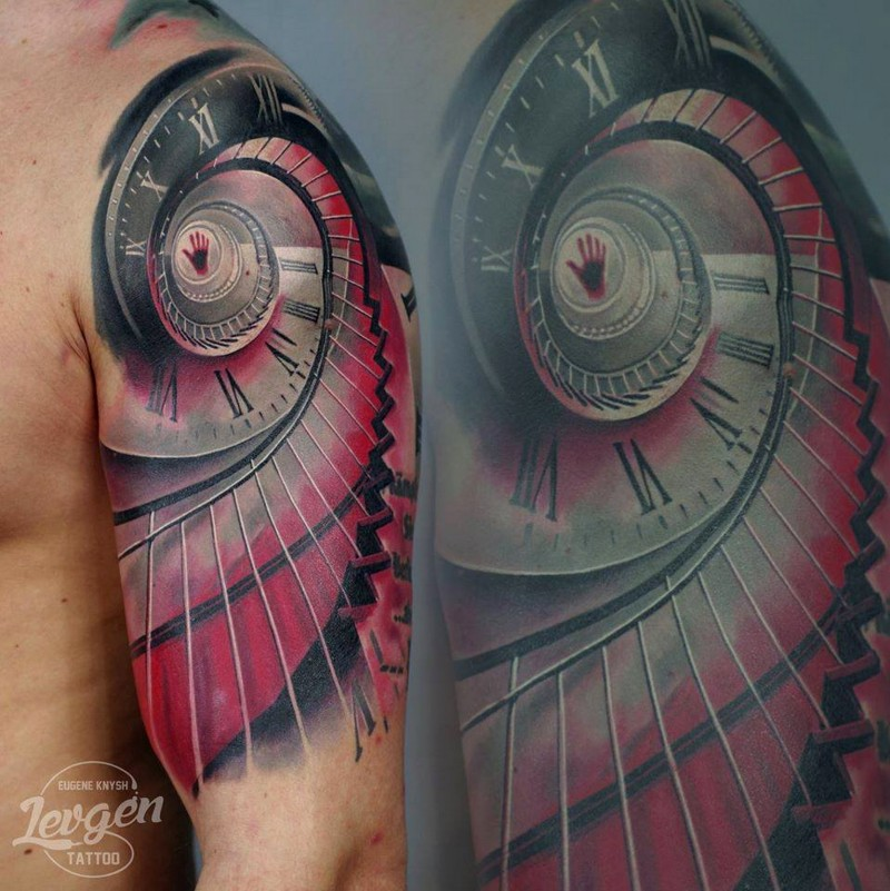 New school style colored shoulder tattoo of hypnotic stairs with clock
