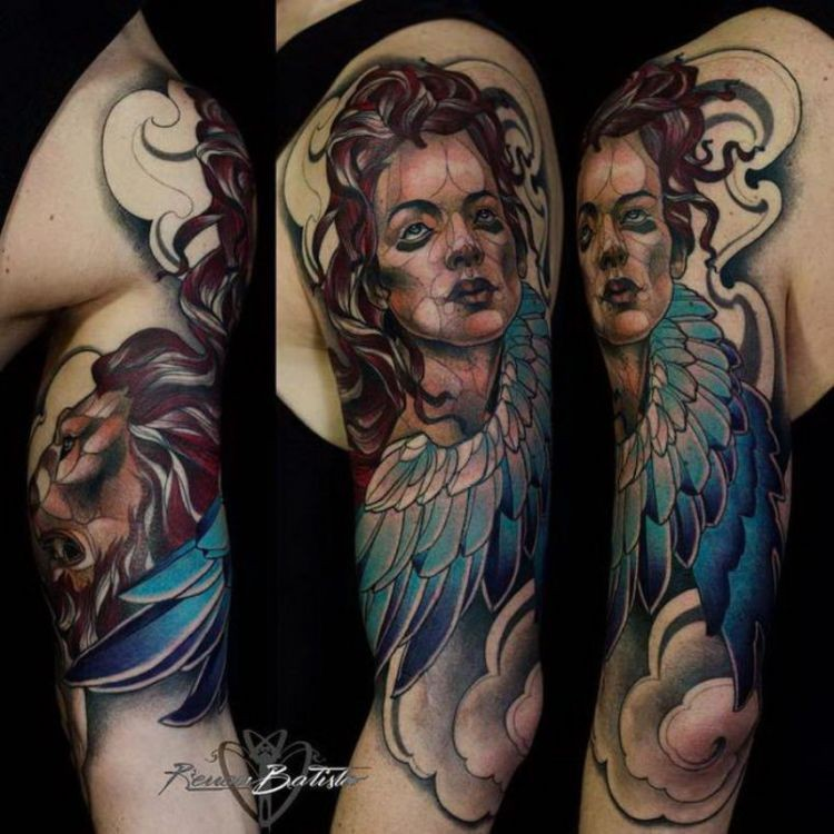 New school style colored shoulder tattoo of angel woman with lion