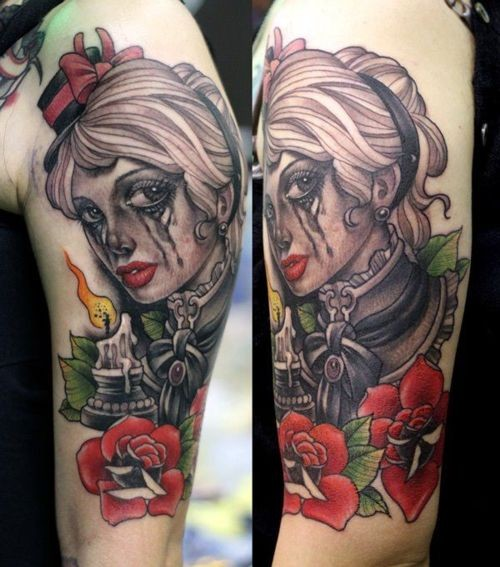 New school style colored shoulder tattoo of crying woman with candle and flowers