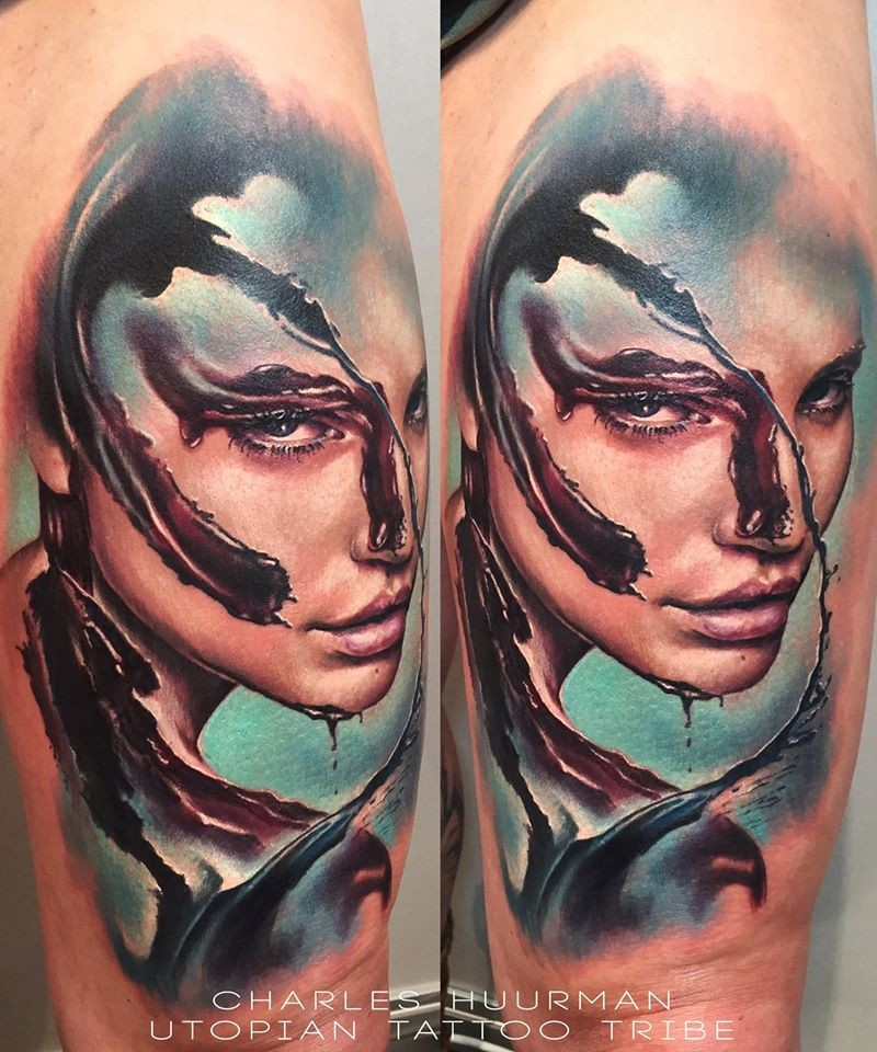 New school style colored shoulder tattoo of bloody woman