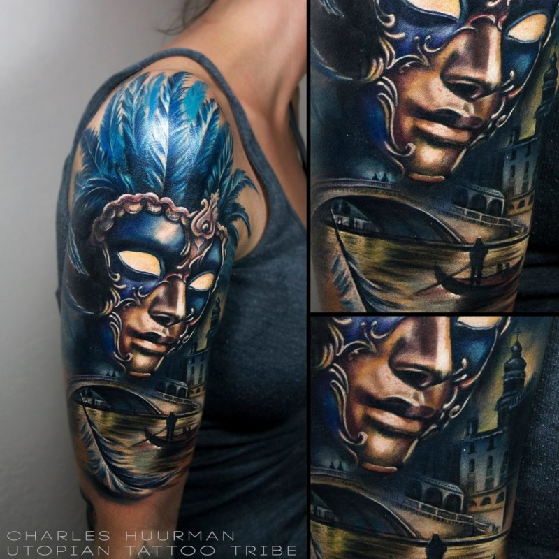 New school style colored shoulder tattoo of mystic woman in mask with medieval city