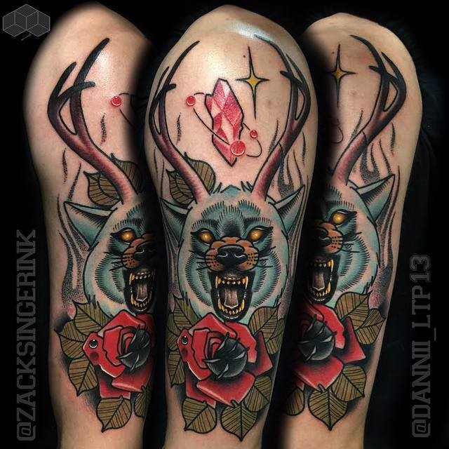 New school style colored shoulder tattoo of wold with deer horns and flower