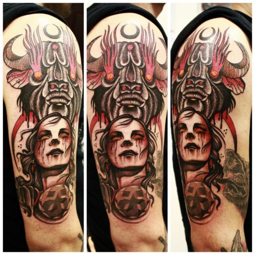 New school style colored shoulder tattoo of bloody woman face and demonic bull head