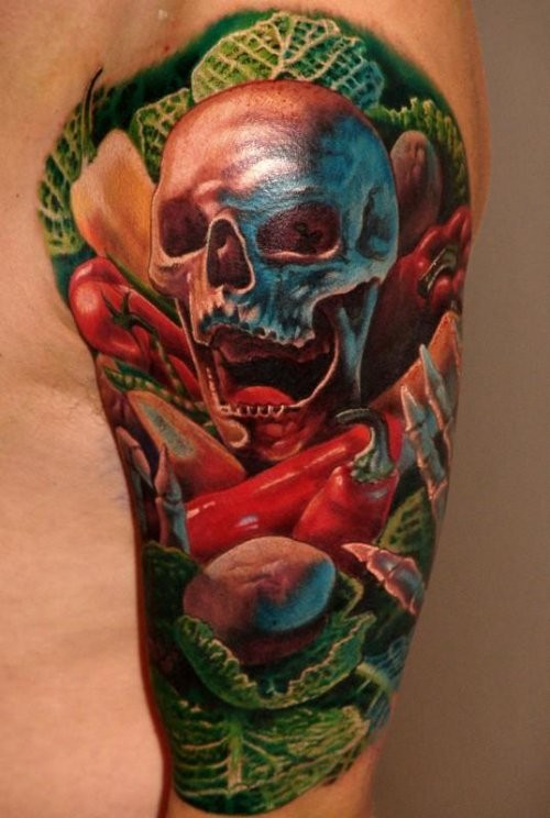 New school style colored shoulder tattoo of sjull with vegetables