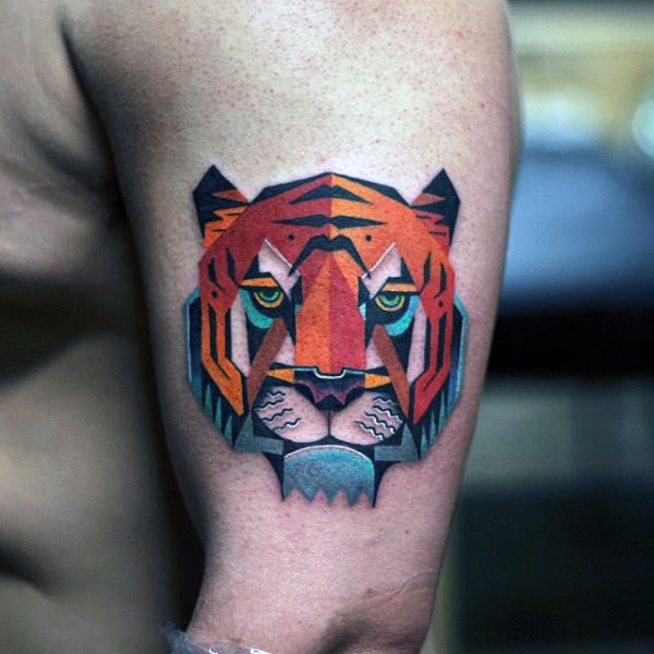 New school style colored shoulder tattoo of fantasy tiger