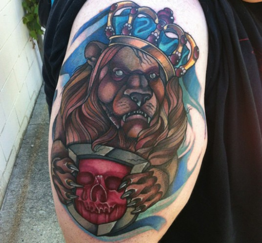 New school style colored shoulder tattoo of king lion with crown and shield