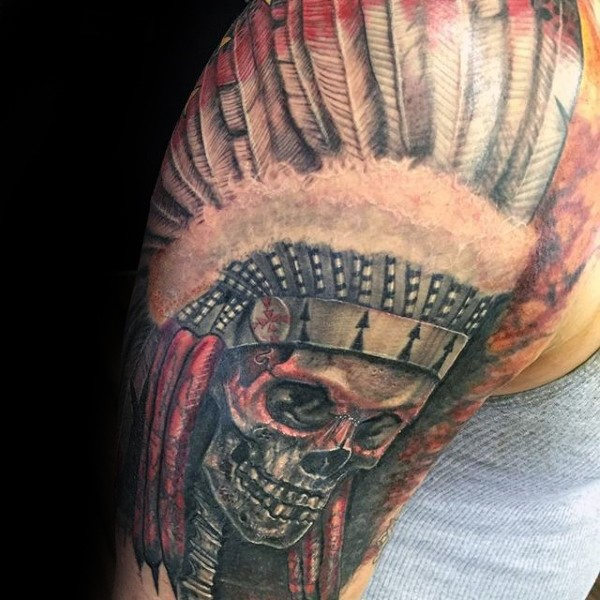 New school style colored shoulder tattoo of Indian skeleton with big helmet